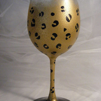 painted gold leopard wine glass or glasses  can by DelightfulFinds