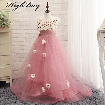 HighBuy Charming 2017 Flower Girl Dresses With Flowers Long Custom Tulle Toddler Girls Pageant Dresses With Train Real Images