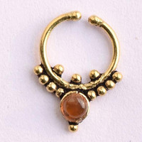 Brass septum for pierced nose, fake  septum, tribal septum ring, 1 mm brass wire 18g approx  1