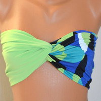 Neon colorful swimsuit spandex twisted lycra bandeau by bstyle