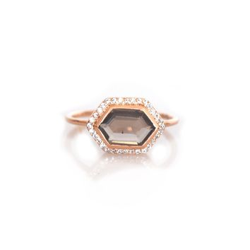 Smoky Quartz and Diamond Royale Ring