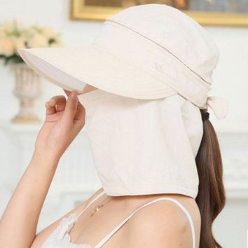 Fashion Women's Foldable Sun Hat UV Protection Wide Brim Sun Hat Face Neck Protection Summer Hat Beach Dual use F0127