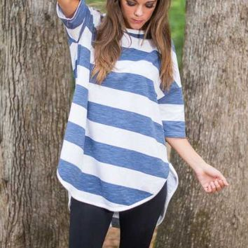 Stripe Sleeve Asymmetrical Shirt