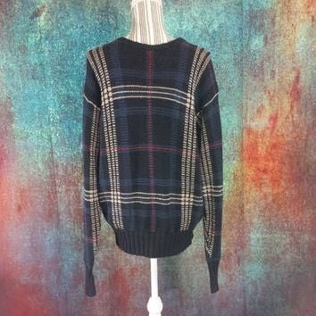Polo Ralph Lauren Knit Sweater Vintage Jumper Tattersall Plaid Prep Oversize Baggy Boy