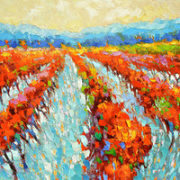 SALE Scarlet vineyards- Original oil painting on canvas by Dmitry Spiros. Size: 28 x 36 in (70 x 90 cm)