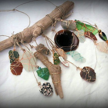 Beach Glass Sun Catcher Unique Wind Chime Bohemian Style Driftwood Mobile