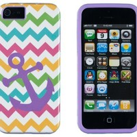 DandyCase 2in1 Hybrid High Impact Hard Nautical Anchor Colorful Chevron Pattern + Purple Silicone Case Cover For Apple iPhone 5S & iPhone 5 (not 5C) + DandyCase Screen Cleaner