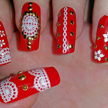 3D Red False nails perfect for Asian Weddings. Red acrylic press on nails. Nail art with white lace and white flowers Glue included.