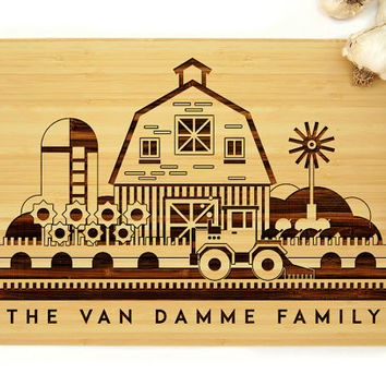 Personalized Wedding Gift, Custom Engraved Wood Cutting Board, Family Farm Design, Anniversary Gift, Housewarming Gift, Father's Day