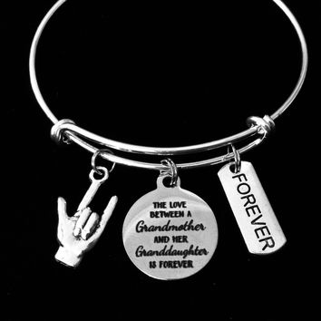 The Love Between a Grandmother and a Granddaughter is Forever I Love You ASL Jewelry Expandable Charm Bracelet Adjustable Silver Wire Bangle Trendy One Size Fits All Gift