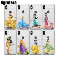 Agrotera Phone Cases Pocahontas Rapunzel Snow White Tiana Clear TPU Case Cover for iPhone 5 5s SE 6 6s 7 8 Plus X
