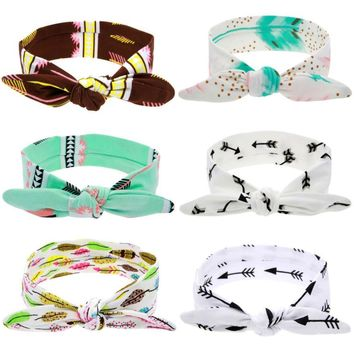 Cute DIY Rabbit Ears Elastic Cloth Bowknot Headband  Feather Arrowhead Hairband Cloth kids hair accessories 64*5CM 0-5y