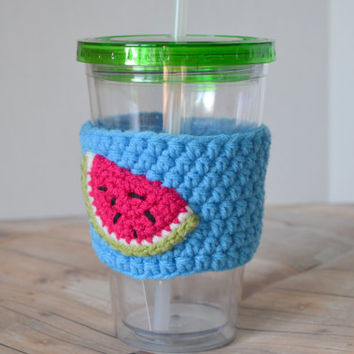 Watermelon Tumbler Jar Cozy, Summer Drink Cup, Drinking Glass, Mason Jar Tumbler, Iced Tea Glass