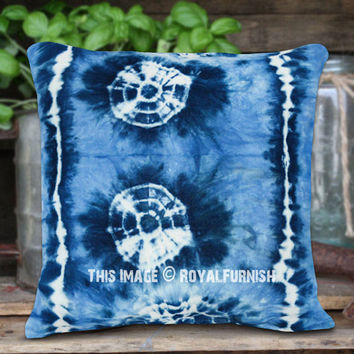 Turquoise Decorative Medallion Shibori Design Indigo Throw Pillow Cover 16X16 Inch on RoyalFurnish.com