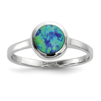 Sterling Silver Rhodium-plated Synthetic Blue Opal Ring