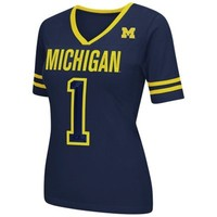 Michigan Wolverines Women's Disco V-Neck T-Shirt – Navy Blue