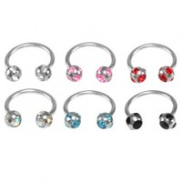 316L Surgical Stainless Steel Horseshoe Circular Barbell with Cubic Zirconia Gemmed Balls - Sold Individually