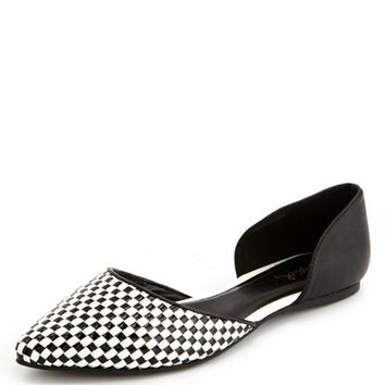 Checkered Pointy Toe D'Orsay Flat: Charlotte Russe