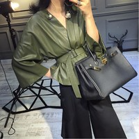 ASYMSAY Women Fashion Temperament PU Leather Clothing Loose Coat Autumn And Winter Women's Outwear Streetwear