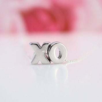 XO Love and Kisses necklace, all 925 Sterling Silver, Valentines gift for wife, gift for girlfriend, XOXO necklace, Romantic jewelry