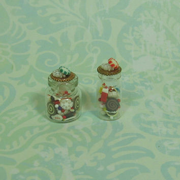 Dollhouse Miniature Pair of Bottles with Christmas Candies