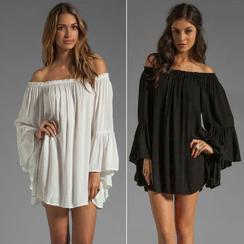 Bell Sleeve Loose Boho Mini Dress