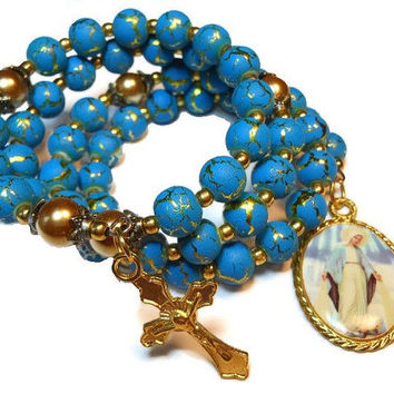 """Rosary bracelet """"Hail Mary Full of Grace"""" five decade - blue desert sun beads, golden glass pearl Paters, vintage Mary medal and crucifix"""
