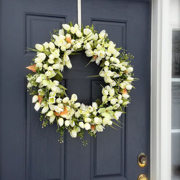 White Tulip Wreath, Spring Tulip Wreath, Spring Door Wreaths, Tulip Door Wreaths, White Wreath