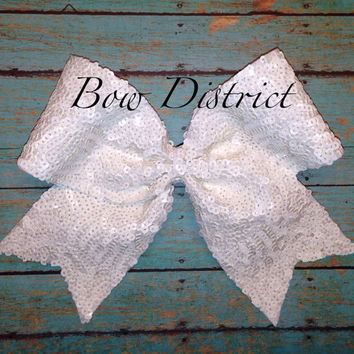 "3"" White Sequin Cheer Bow"