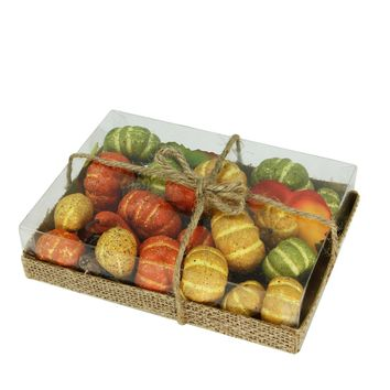 Autumn Harvest Pumpkins  Fall Leaves and Pinecones Bowl or Vase Filler Decorations