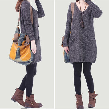Cotton sweater wool sweater large knitted sweater casual loose sweater tops long women sweater dress plus size sweater cotton blouse -Gray