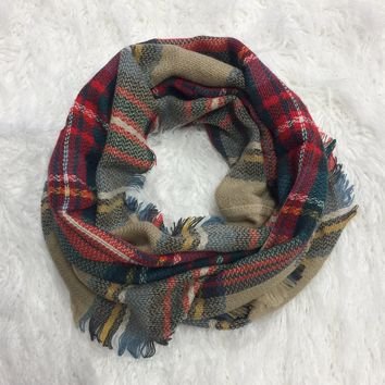 Chilly Thoughts Taupe Multi Print Scarf