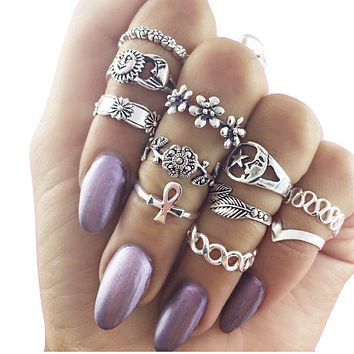 Vintage hollow carved sun moon stars flowers 11 eleven sets of knuckles rings