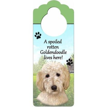 CUPUPWL A Spoiled Goldendoodle Lives Here Hanging Doorknob Sign