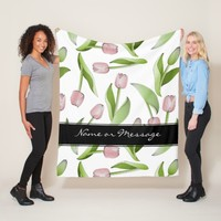 Pink Tulip Floral Patten Modern Chic Personalized Fleece Blanket