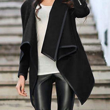Black Turtleneck Zipper Asymmetrical Long Sleeve Coat