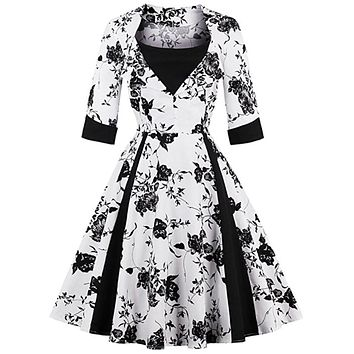 Retro Inspired Floral Dress, Sizes Small - XLarge