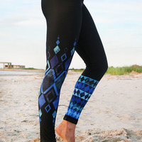 LEGGING - 'CHAKRA Blue'  Style Legging for SURF,  Yoga, Running, Biking