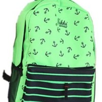 New Green Navy Style Cool Anchors & Black Stripes Prints Front Pocket Funny Laptop Book Travel Hiking Backpack Fashion Men Women Girl Boy School Double Shoulder Bag