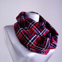 Handmade Red Tartan Infinity Scarf - Red Black White - Spring Autumn Scarf