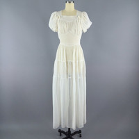 1930s White Dress / 30s Day Dress / Summer Wedding Dress / Size Small S
