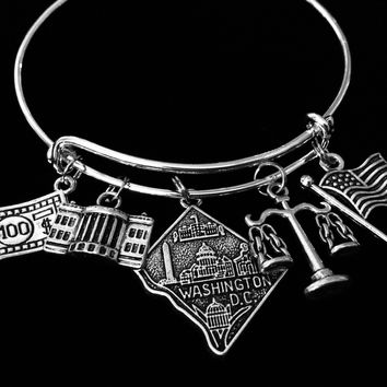 Washington DC Expandable Charm Bracelet White House Adjustable Silver Bangle One Size Fits All Gift School Trip Jewelry