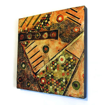 Textured Abstract Painting in oranges, yellow, brown and olive green, geometric art, mixed media art, modern, rustic, industrial wall decor