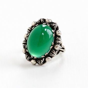Vintage Sterling Silver Chrysoprase Ring - Size 6 1/2 Retro 1960s Filigree Green Gem Cabochon Statement Jewelry