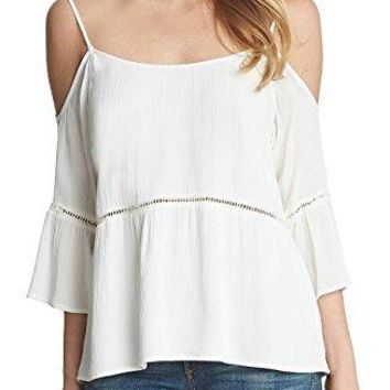 1.State Ladder Stitch Cold Shoulder Top