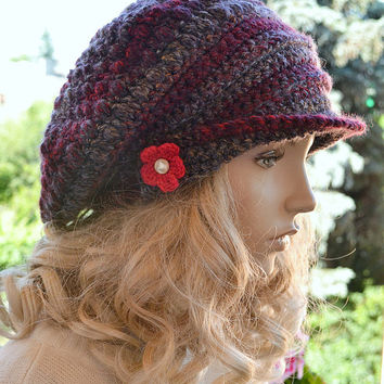 Red and gray  Crocheted  PEAKED CAP beanie Slouchy Winter Fashion , very warm,women hat,Girls Hat,unique gifts