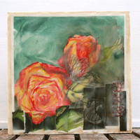 watercolor encaustic painting rose- abstract floral,original painting, yellow, orange, butterfly