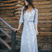 Piper & Scoot: The Alida Embroidered Maxi Dress in Periwinkle