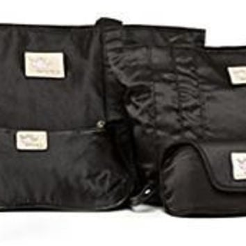 4 in One Set of  Black Bags , 2 Tote bags, Purse, Spectacle case