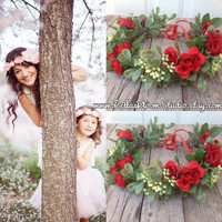 Mommy and Me Flower Crown Set, Bohemian headpiece, Boho flower crown, Mommy and Me Photo prop red crown christmas Toddler flower crown  etsy